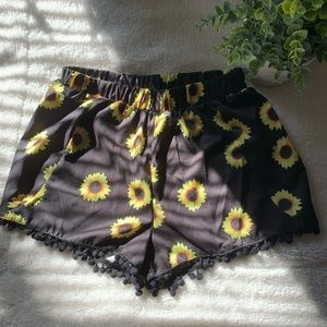 Sunflower print shorts